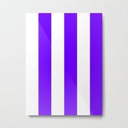 Wide Vertical Stripes - White and Indigo Violet Metal Print