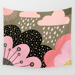 Modern abstract pattern – flowers, clouds and sunshine. Block colors in pink and gold Wall Tapestry