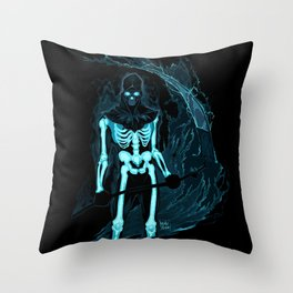 Demon with a scythe in the fire Throw Pillow