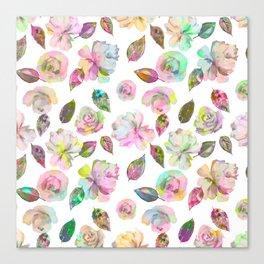 Modern elegant hand painted girly roses leaves pattern Canvas Print