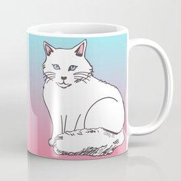 White Cat Pink & Blue Pastel Coffee Mug