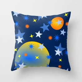 Celestial Stars and Planets Throw Pillow
