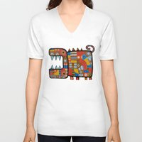 hippo V-neck T-shirts featuring Dog hippo by Rudolf Brancovsky