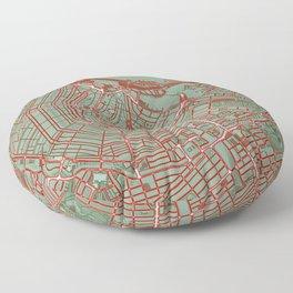 Amsterdam city map pop Floor Pillow