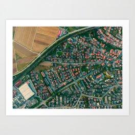 Farm vs City Aerial (Color) Art Print