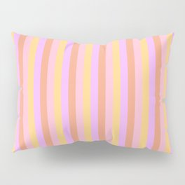 Hibiscus Hawaiian Flower Cabana Stripes in Pink, Yellow, Peach and Lilac Pillow Sham