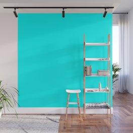 Neon Aqua Blue Bright Electric Fluorescent Color Wall Mural