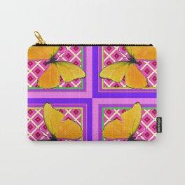 Decorative Golden Butterflies Purple Pink Pattern Art Carry-All Pouch
