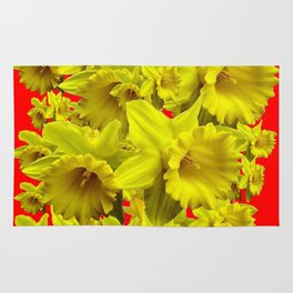 YELLOW SPRING DAFFODILS ON CHINESE RED ART Rug