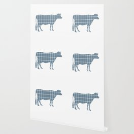 Cow: Neutral Blue Plaid Wallpaper