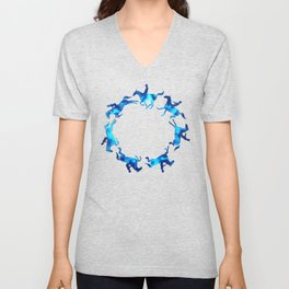 Showjumping Horse Sequence (Blue) Unisex V-Neck