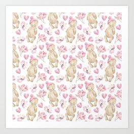 Vintage watercolor brown bear pink bohemian floral Art Print
