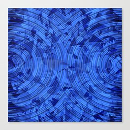psychedelic geometric circle pattern abstract background in blue Canvas Print