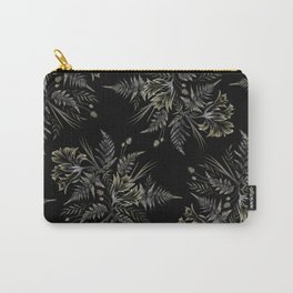 Ferns and Parrot Tulips - Black Carry-All Pouch