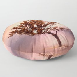 Coral Pink Sunrise Cotton Field Tree - Landscape  Floor Pillow
