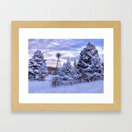 Windmill in the Snow Framed Art Print