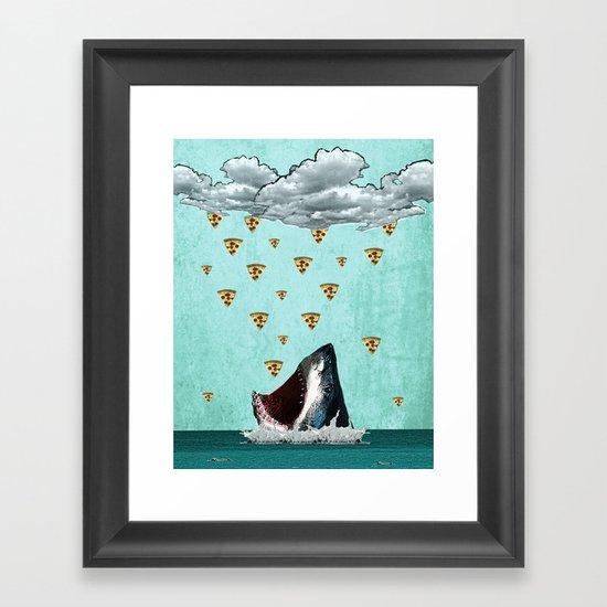 Pizza Shark Print Framed Art Print