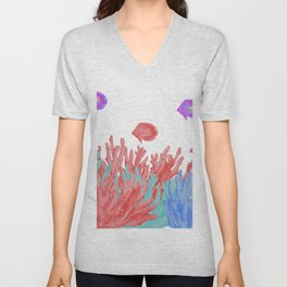 Modern nautical coral teal floral reef colorful fish Unisex V-Neck