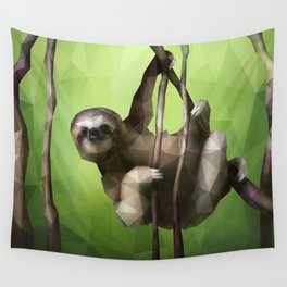 Sloth (Low Poly Lime) Wall Tapestry