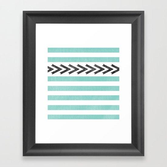 ARROW STRIPE {TEAL} Framed Art Print