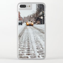 Yellow cab during snow Clear iPhone Case