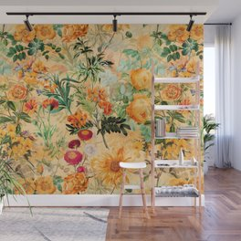 Vintage & Shabby Chic -  Sunny Gold Botanical Flowers Summer Day Wall Mural