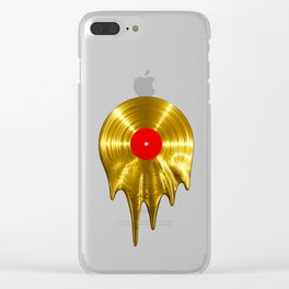 Melting vinyl GOLD / 3D render of gold vinyl record melting Clear iPhone Case