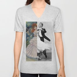 Renoir's Dance at Bougival & Fred Astaire (with Ginger Rogers) Unisex V-Neck