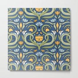 Cat Nouveau Metal Print