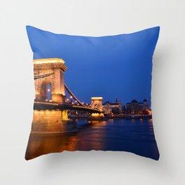 Szechenyi Chain bridge over Danube river Throw Pillow