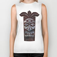 tiki Biker Tanks featuring Tiki arg by Georgina Dominguez