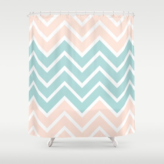 Peach Blue Chevron Shower Curtain By N A T Society6
