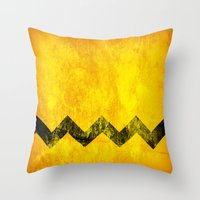 charlie brown Throw Pillows featuring Distressed Charlie Brown by Leah M. Gunther Photography & Design