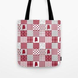 Alabama bama crimson tide cheater quilt state college university pattern footabll Tote Bag