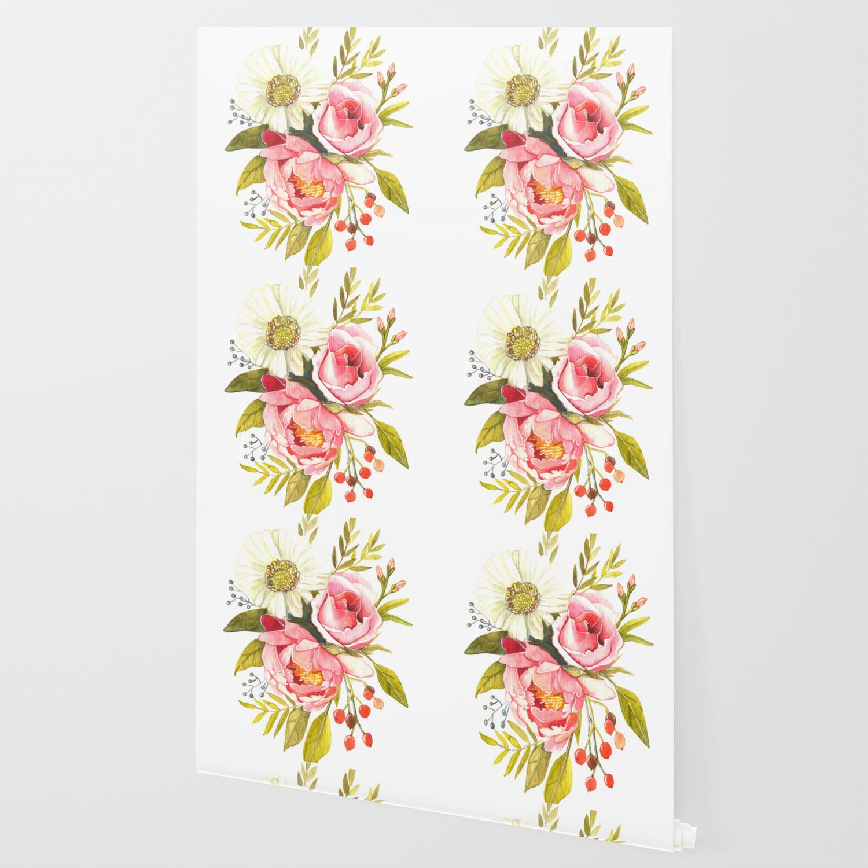 Vintage Watercolor Print With Blooming Flowers Roses Wildflowers And Peonies Wallpaper