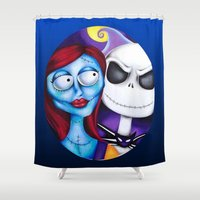 nightmare before christmas Shower Curtains featuring Nightmare Before Christmas by Janelle Jex