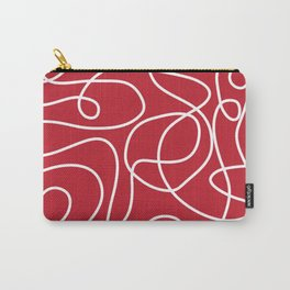 Doodle Line Art | White Lines on Dark Red Carry-All Pouch