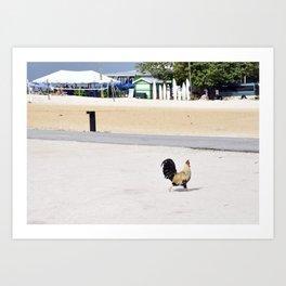 Chicken Crossing the Road Art Print
