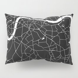 London Black on White Street Map Pillow Sham