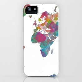 World Map - Watercolor 3 iPhone Case