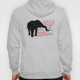 Ride bicycles not elephants. Black elephant, Red text Hoody