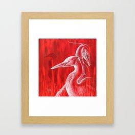 Red Blue Herons  Framed Art Print