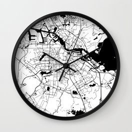 Amsterdam White on Black Street Map Wall Clock