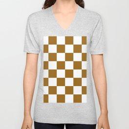 Large Checkered - White and Golden Brown Unisex V-Neck