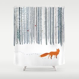 Fox in the white snow winter forest illustration Shower Curtain