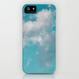 Floating cotton candy with blue green iPhone Case