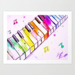 Watercolor Piano Keys Art Print