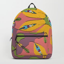 floral red and yellow Backpack