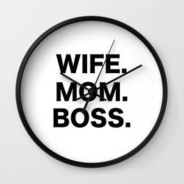 Wife Mom Boss Wall Clock