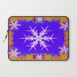 Purple Snowflake Modern Art Abstract Laptop Sleeve
